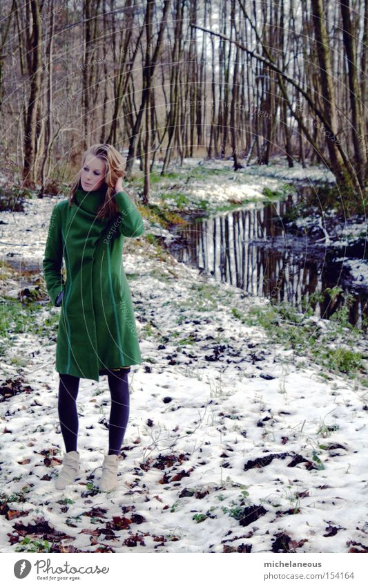 That's where you're standing now. Coat Green Forest Snow Brook Sheepish Beautiful Esthetic Tree Vertical Portrait format Reflection Tights Boots White Winter
