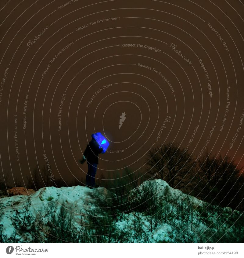 experience a blue miracle Man Human being Mountain Hill Snow Tree Night Extraterrestrial being Mars Flashlight Headwear Paper bag Blue Point of light