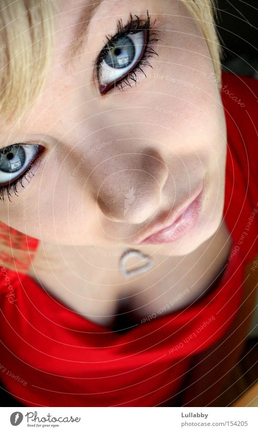 Woman Red Face Eyes Blonde Nose Lady