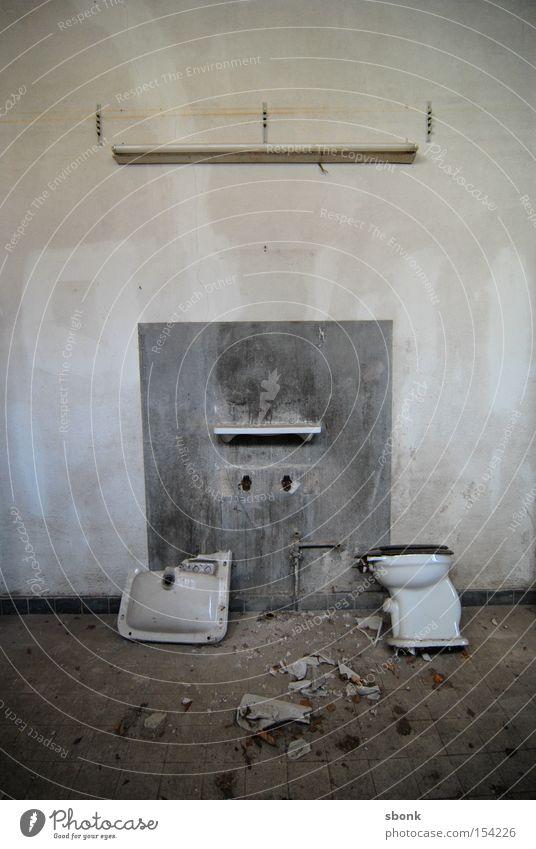 Loneliness Wall (building) Concrete Empty Bathroom Broken Toilet Past Ruin Destruction Dismantling Sink Desolate Shut down
