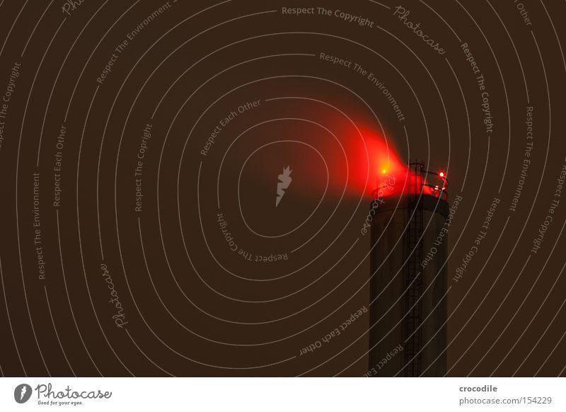 red smoker Red Smoke Exhaust gas Chimney Ladder Night Dark Clouds Light Industry Long exposure Transience