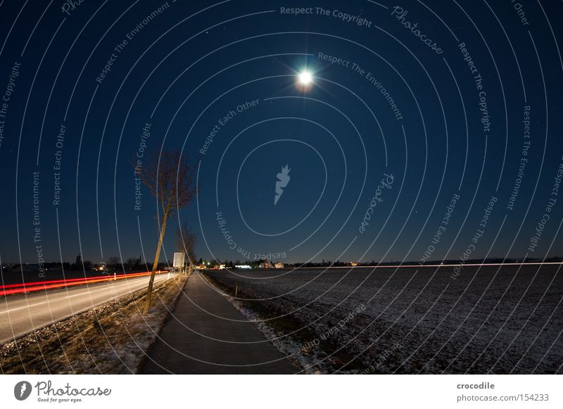Sky Tree Street Snow Field Stars Motor vehicle Agriculture Moon Traffic infrastructure Distorted Starry sky Street sign Rear light Cycle path