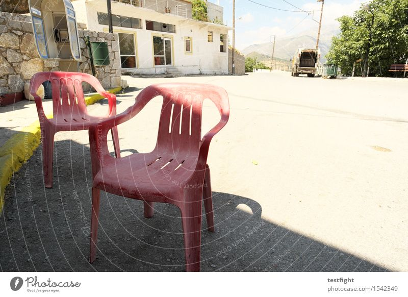 red plastic chairs Village Small Town Deserted Manmade structures Building Architecture Transport Logistics Street Plastic Sit Wait Old Red Decline Transience