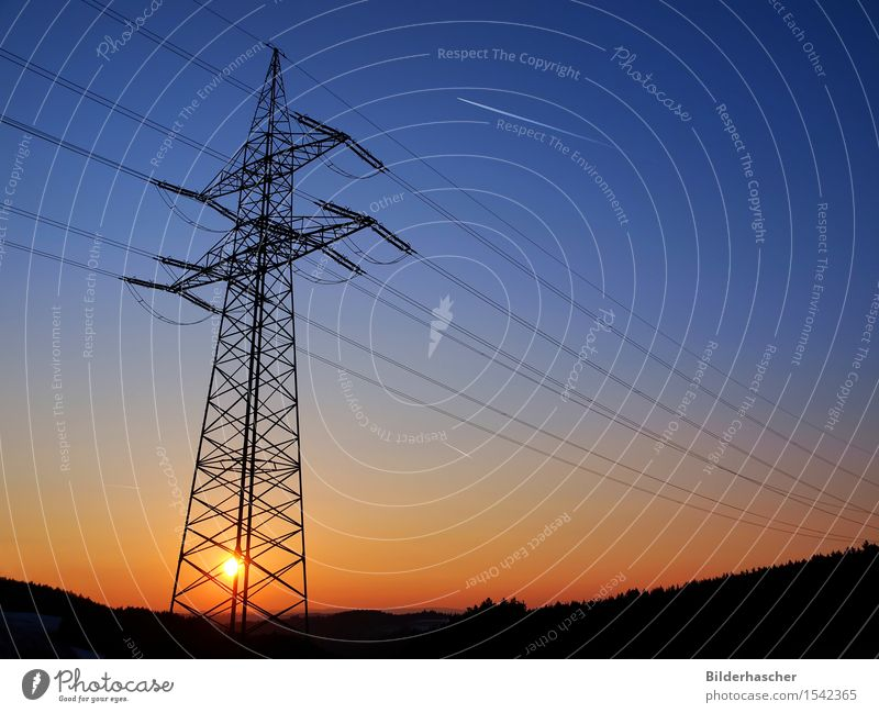 Solar energy Sunset Sunrise Solar Power Energy Energy industry Grating Sky Electricity High voltage power line Steel Electricity pylon Power transmission Tails