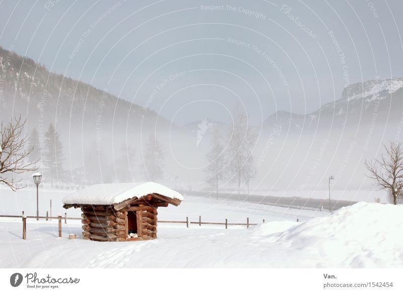 hut magic Landscape Sky Winter Fog Snow Tree Rock Mountain Hut Cold White Fence Wooden hut Colour photo Multicoloured Exterior shot Deserted Copy Space top