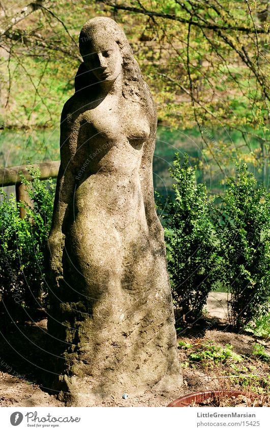 the beautiful lukewarm Statue Woman Gray Green Historic Stone Water Plant