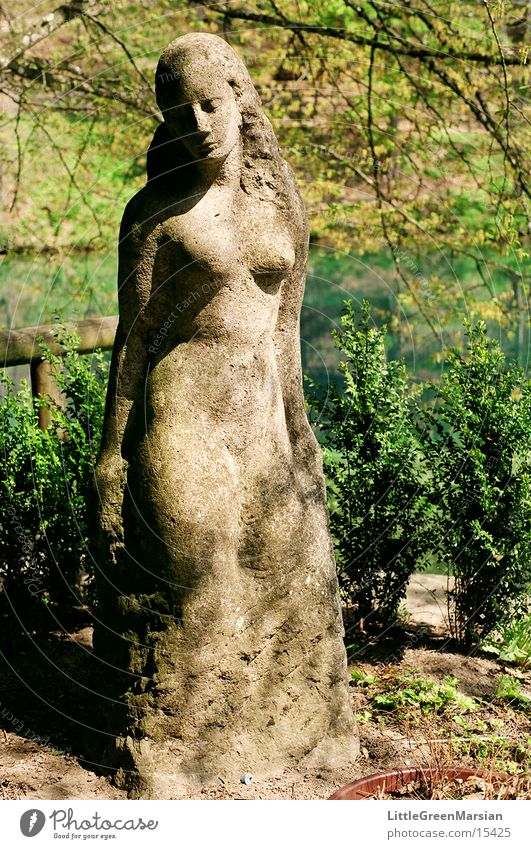 Woman Water Green Plant Gray Stone Statue Historic