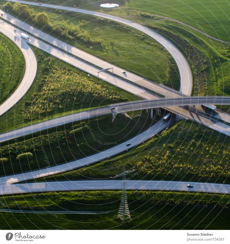 Summer Meadow Freedom Car Bird Bird's-eye view Flying Concrete Speed Aviation Tracks Motor vehicle Dresden Highway Traffic infrastructure