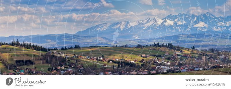Malopolska Panorama with snowy Tatra mountains in spring Sky Nature Vacation & Travel Blue Beautiful Green Tree Landscape Clouds House (Residential Structure)