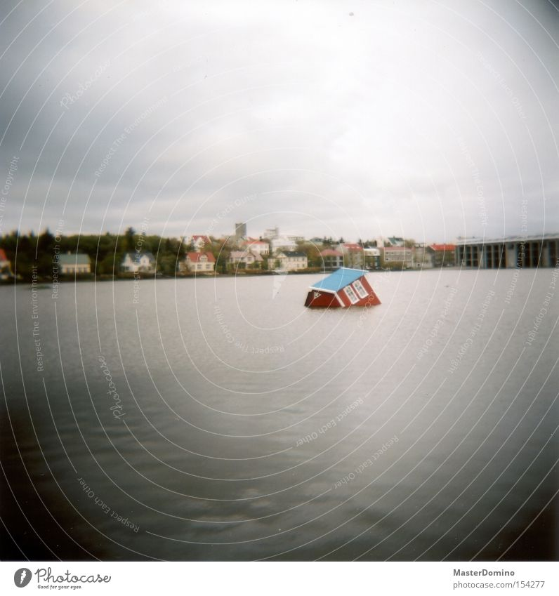 House overboard House (Residential Structure) Lake Go under Drown Water Sky Surrealism Reykjavík Iceland Holga Lomography Obscure tilted position