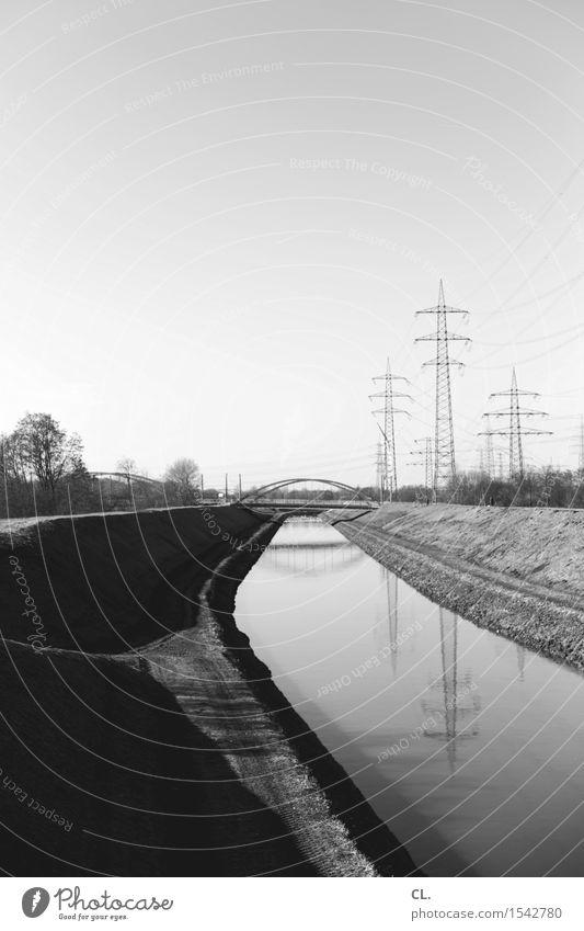 Nature Landscape Environment Perspective Energy Future Beautiful weather Bridge River Target Cloudless sky River bank Navigation Electricity pylon Channel The Ruhr