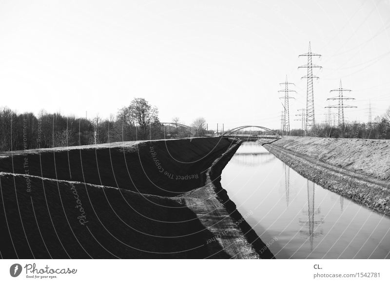 canal Environment Nature Landscape Cloudless sky Beautiful weather River bank Bridge Navigation Inland navigation Electricity pylon Energy Perspective Target