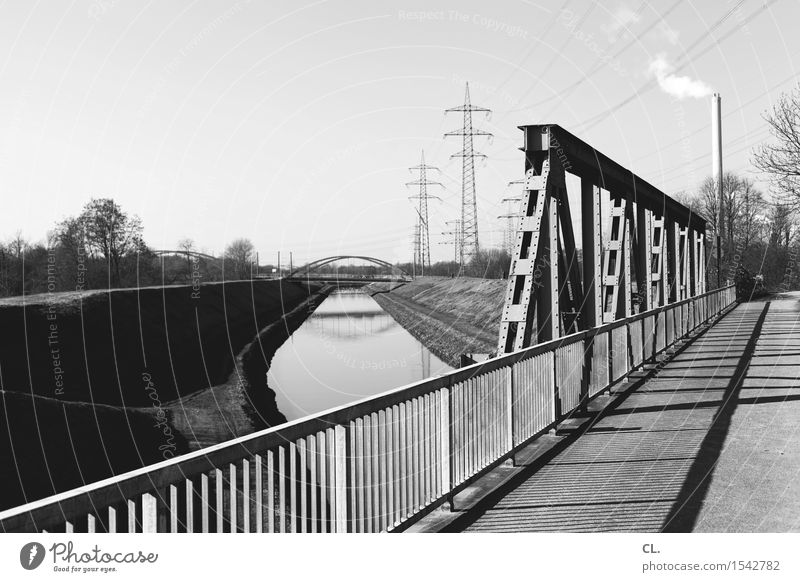 bridge and canal Energy industry Industry Environment Nature Landscape Cloudless sky Beautiful weather River bank Architecture Transport Traffic infrastructure