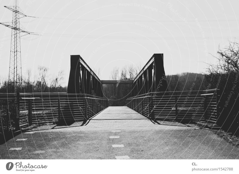 bridge Sky Transport Traffic infrastructure Lanes & trails Bridge Fence Electricity pylon Target Future Industrial district The Ruhr Black & white photo