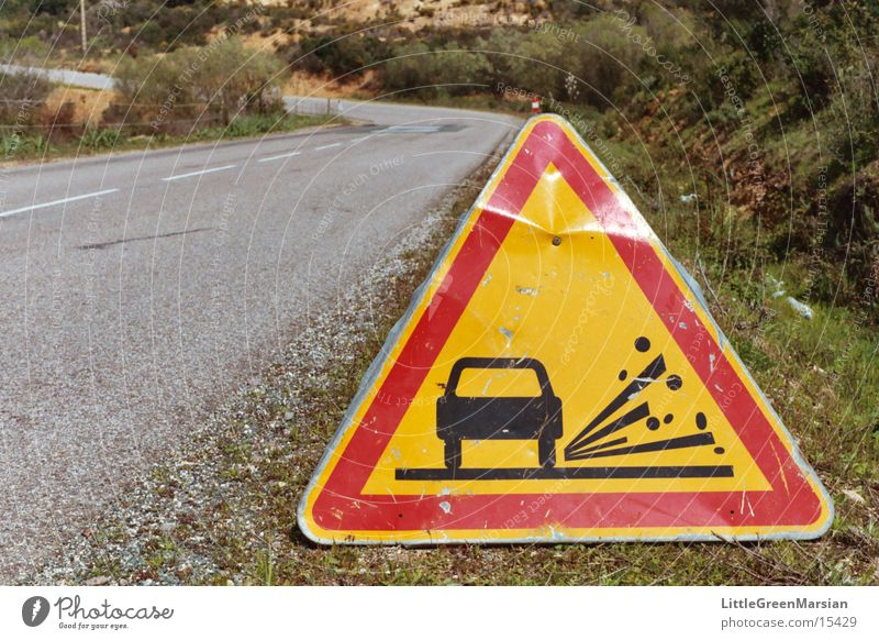 rolled gravel Road sign Triangle Red Yellow Country road Transport Old Caution