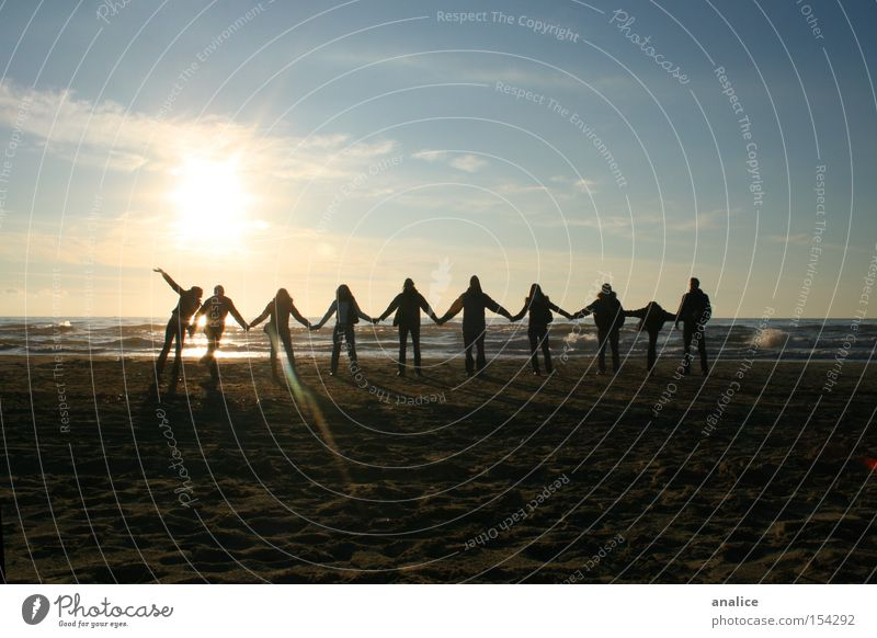 sunset friendship Human being Youth (Young adults) Water Sky Sun Ocean Joy Beach Group Landscape Friendship Waves Coast Adults