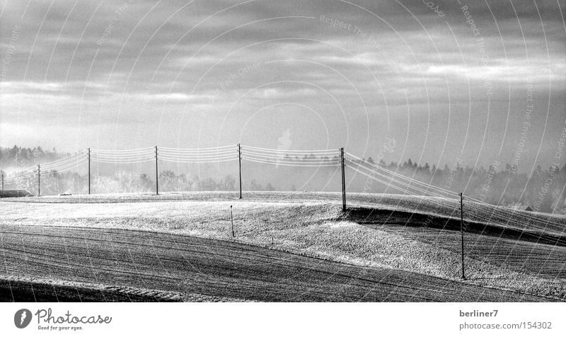Snow Field Fear Energy industry Electricity Gas Electricity pylon Panic Hoar frost High voltage power line Monochrome Energy crisis