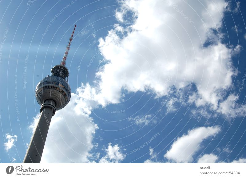 cloudbursts Berlin Transmitting station Berlin TV Tower Television tower Summer Sun Sky Clouds White Blue
