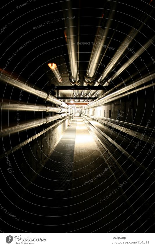 Light at the end of the tunnel! Pipe Tunnel Long Dark Infinity Corridor Bright Black Eerie Fear Panic Industry cable route
