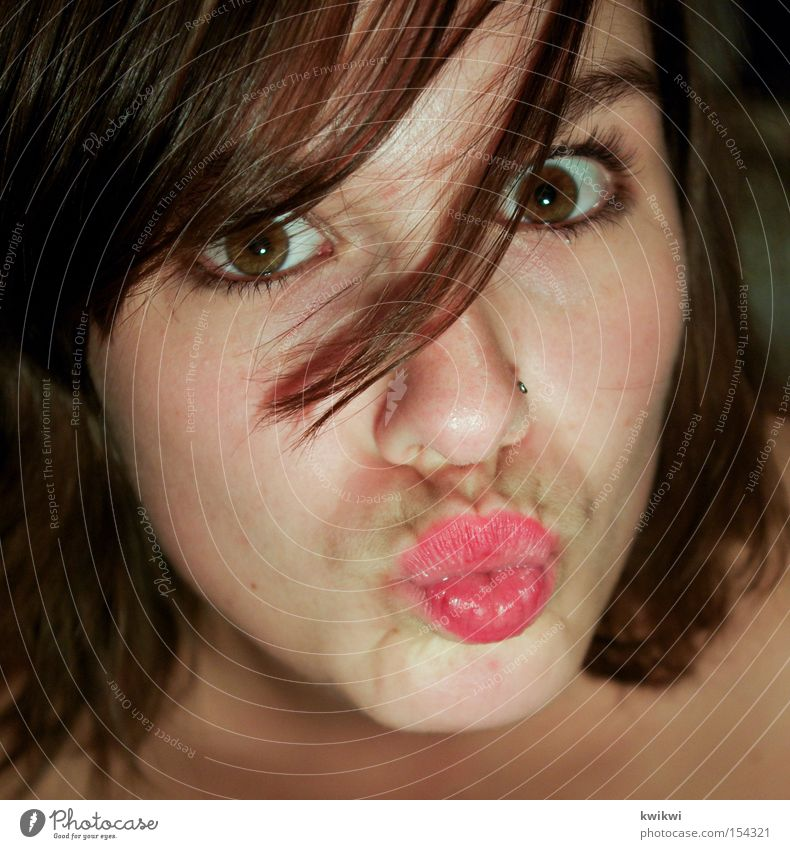 Woman Beautiful Summer Face Love Eyes Mouth Funny Lips Kissing Grimace Pout