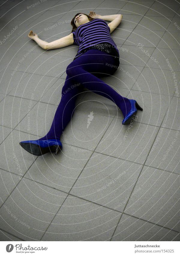 Blue Pumps Woman Lie High heels Death Tile Floor covering Ground Transience purple stockings Juttas snail