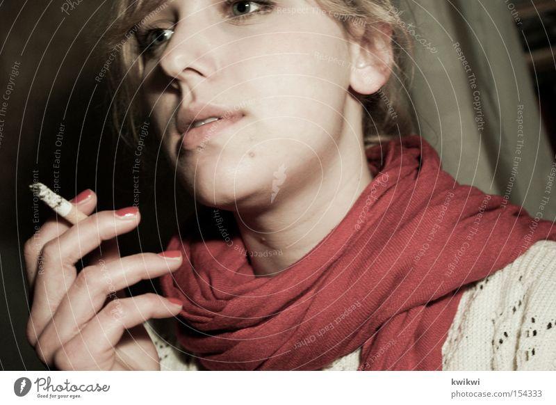 smoking kills Smoking Tobacco products Cigarette Scarf Illness Woman Unhealthy Gray Pallid Emotions