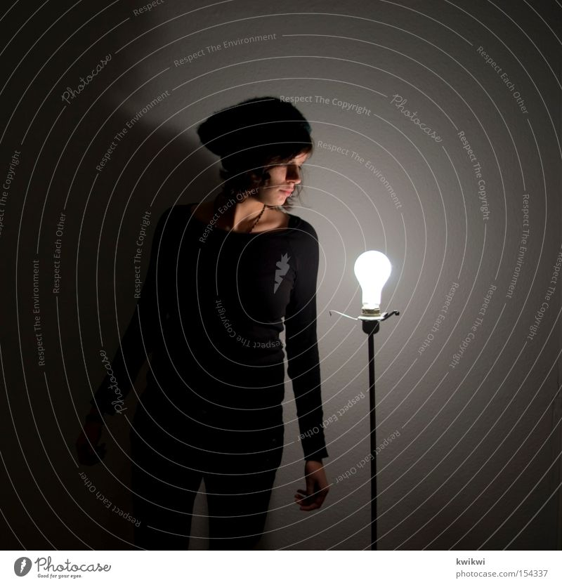 lamp thief Lamp Electric bulb Light Woman Electricity Bright Dark Cap Standard lamp Sit Shadow