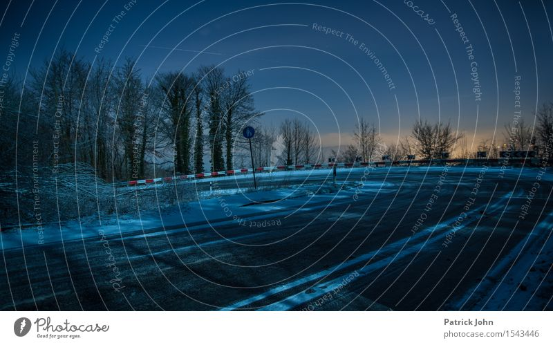 winter curve Night sky Winter Bad weather Ice Frost Snow Road traffic Motoring Street Overpass Driving sharp bend Risk Black ice clear night Speed limit
