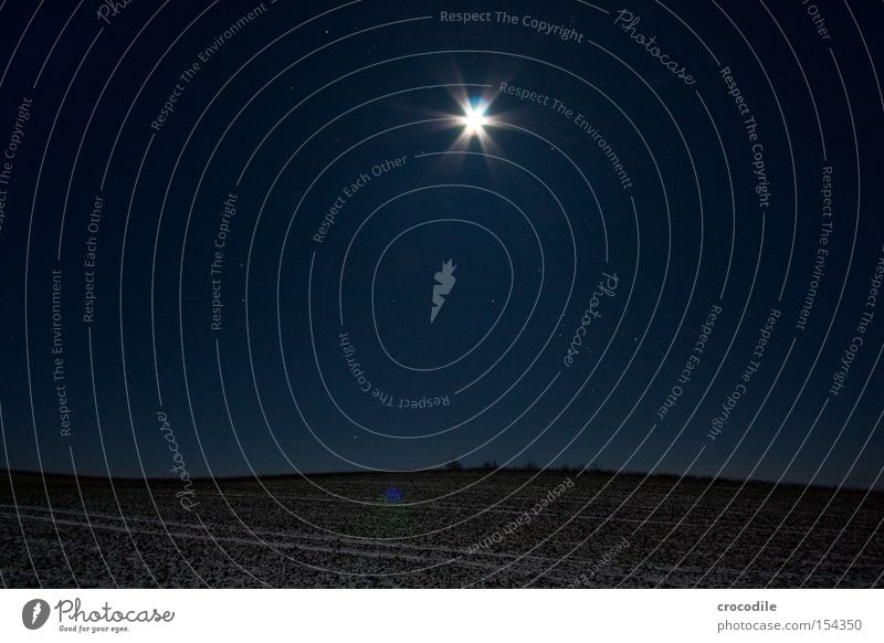 Moonlight lllV Field Agriculture Star (Symbol) Stars Night Winter Cold Romance Bavaria Frozen Long exposure Starry sky