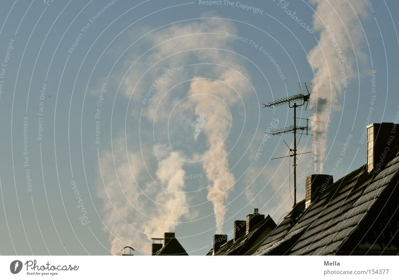 Sky Blue Winter House (Residential Structure) Cold Roof Smoke Chimney Antenna Go up Vertical Steam