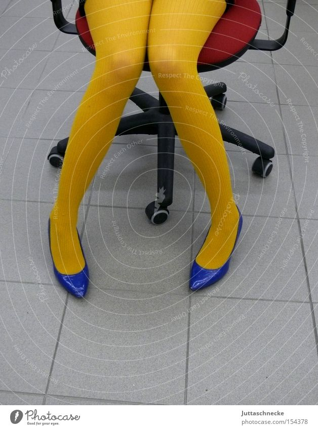 Yellow Stockings/Opaque Legs Woman Tights Office Armchair High heels Red Blue Public service Education Juttas snail