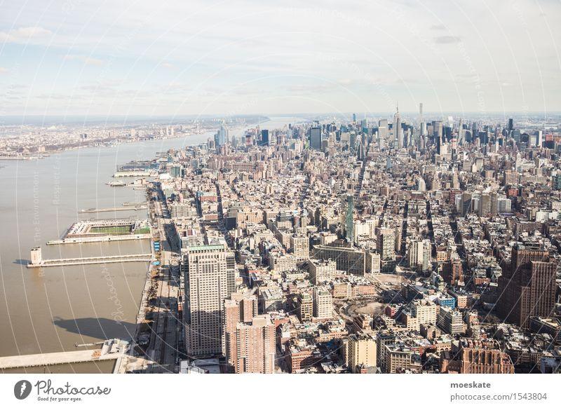 Mannhattan, New York Town Downtown Skyline Gray New York City Manhattan World Trade Center One World Trade Center Empire State building High-rise Hudson River