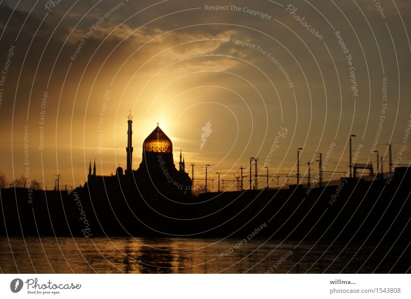the yenidze in dresden at sunset Elbe Dresden Palace Tower Manmade structures Building Architecture Tabacco factory Mosque Domed roof Tourist Attraction