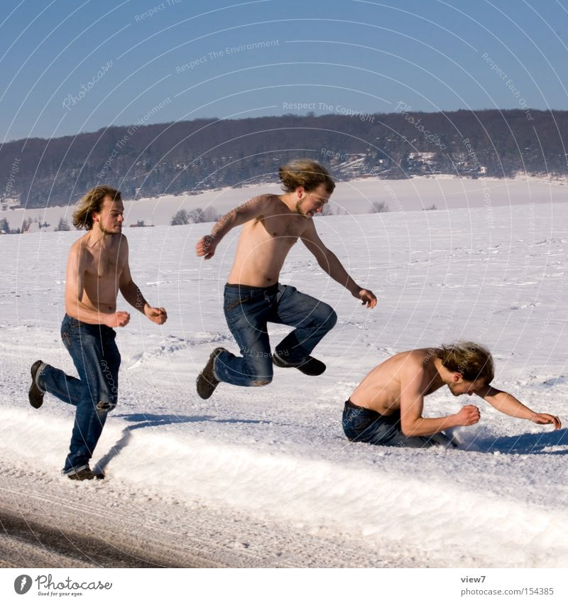 Man Joy Winter Cold Adults Movement Snow Funny Jump Walking Speed Row Racing sports Dynamics Euphoria Make