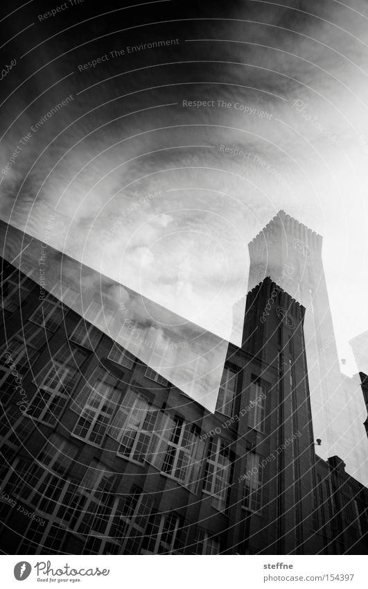 3D photo Industrial Photography Brick House (Residential Structure) Building Double exposure Hypnotic Sky Dramatic Black White Window Industry Historic