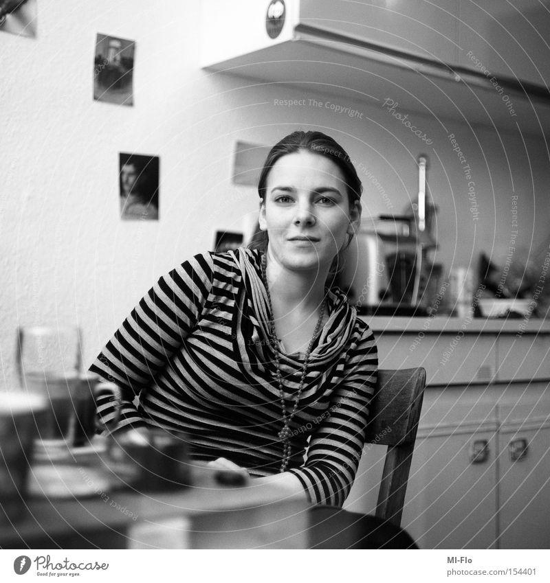 White Joy Black Portrait photograph Medium format Capitulate Hoop stripe t-shirt