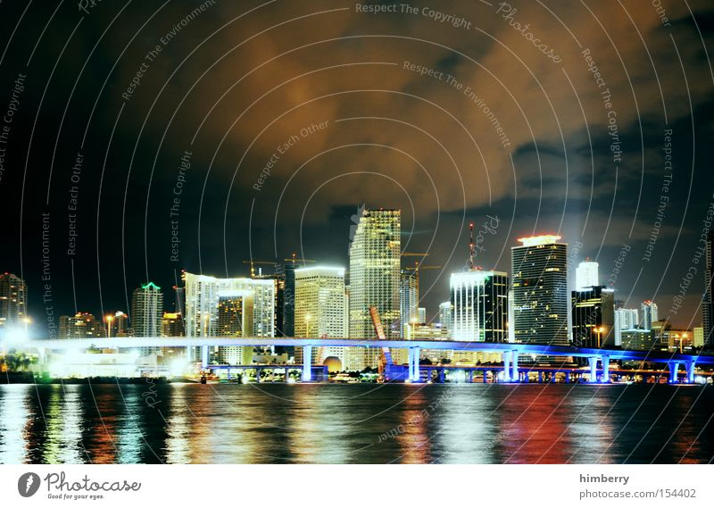 the magic city Town Skyline Miami USA American Flag Americas Ocean Coast Night life Lighting Electricity Energy Lighting engineering High-rise