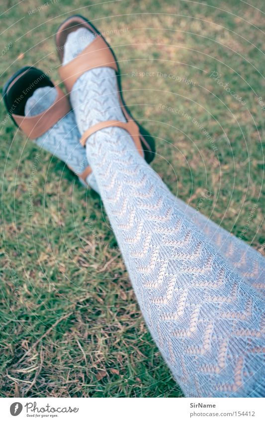 Woman Blue Beautiful Summer Relaxation Adults Grass Clothing Break Stockings Lace High heels Woman's leg Footwear