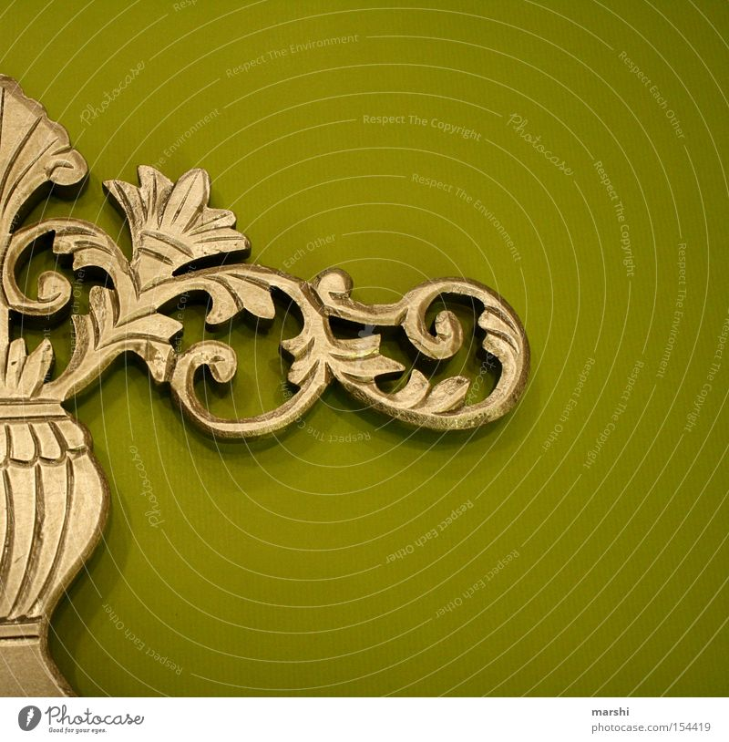 ::: Curlicue ::: Art Decoration Green Stucco Embellish Fashioned Culture Arts and crafts  Gold