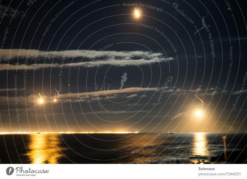 invasion Sky Clouds Horizon Ocean Navigation Harbour Fight Bright Military Beacon Colour photo Exterior shot Night Artificial light Light
