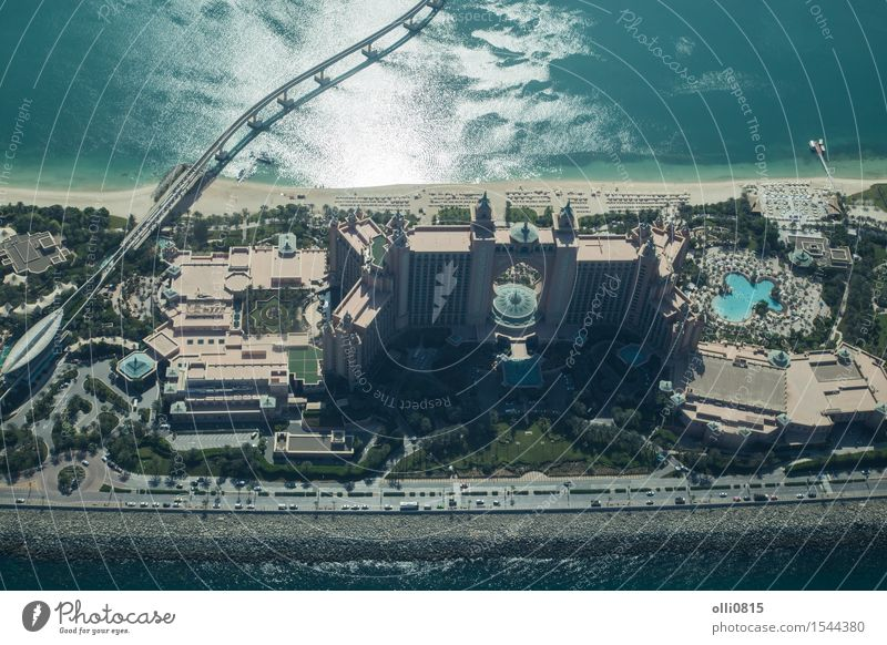 Atlantis The Palm Hotel aerial view Luxury Vacation & Travel Tourism Beach Ocean House (Residential Structure) Sand Dubai United Arab Emirates Asia Town