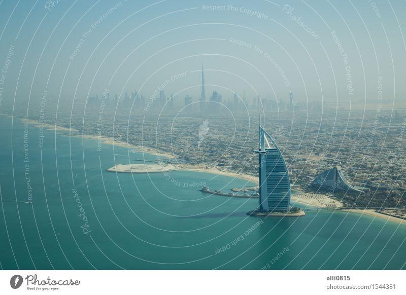 Burj Al Arab aerial view Luxury Tourism Beach Ocean House (Residential Structure) Coast Dubai United Arab Emirates Asia Town Skyline High-rise Building