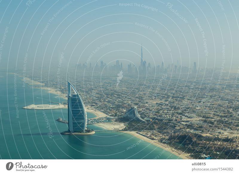 Burj Al Arab aerial view Luxury Tourism Beach Ocean House (Residential Structure) Coast Dubai United Arab Emirates Town Skyline High-rise Building Architecture
