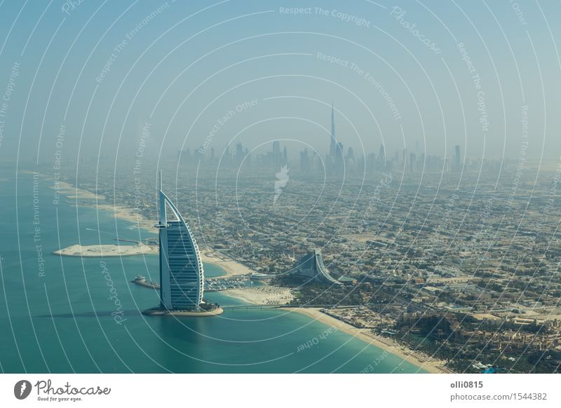 Burj Al Arab aerial view Vacation & Travel City Ocean House (Residential Structure) Beach Architecture Coast Building Tourism High-rise Vantage point Hotel