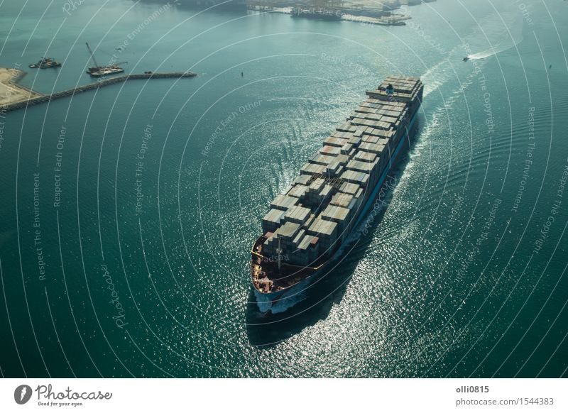 Cargo Container Ship Aerial View City Ocean Watercraft Transport Industry Logistics Harbour Port City Merchant Dubai Container ship United Arab Emirates