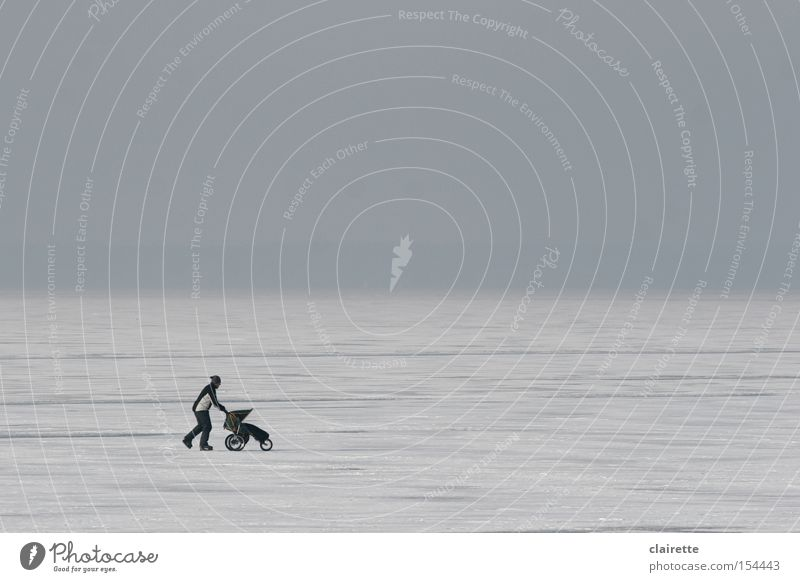 ice-skater Colour photo Subdued colour Exterior shot Copy Space top Winter Snow Winter sports Man Adults Ice Frost Pond Lake Baby carriage Going Walking Cold