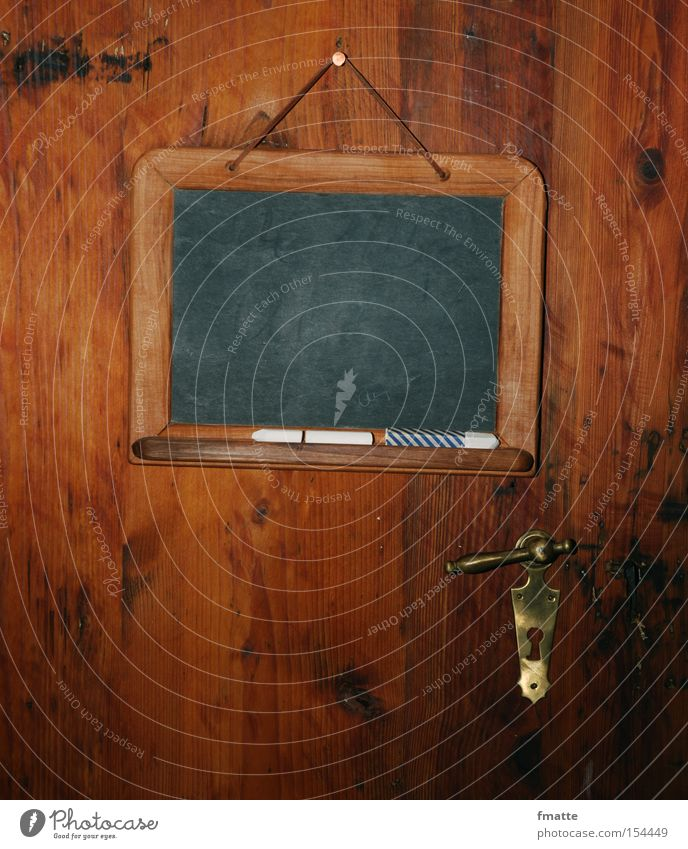 Old Wood Door Background picture Signs and labeling Empty Signage Blackboard Lock Piece of paper Chalk Stationery