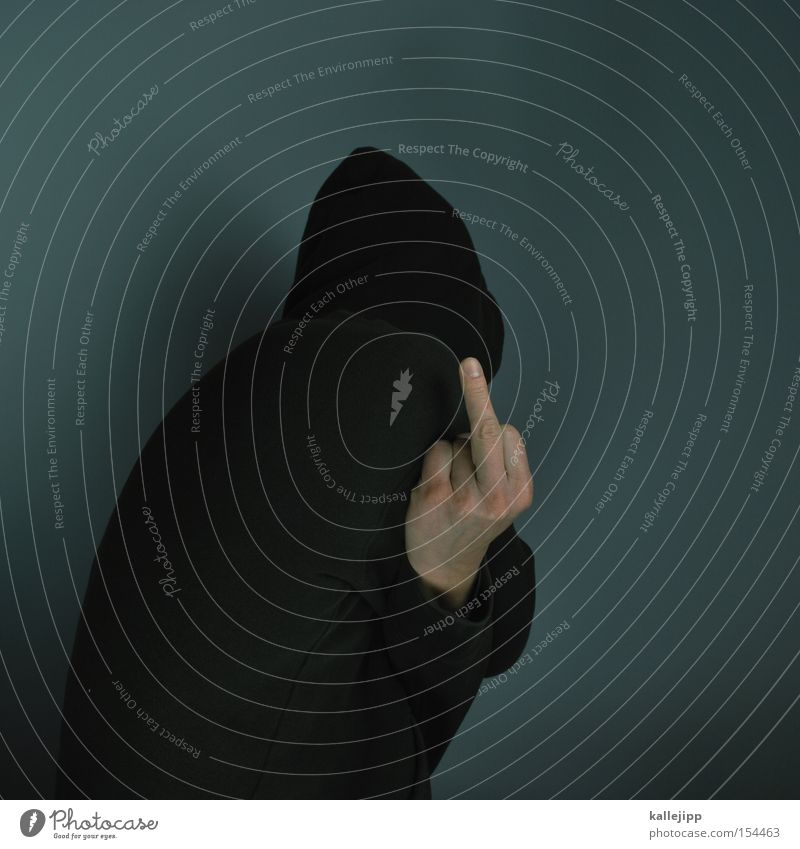 Human being Man Fingers Anger Feces Sweater Aggravation Hatred Hooded (clothing) Cliche Ghetto Hand Middle finger Give the finger