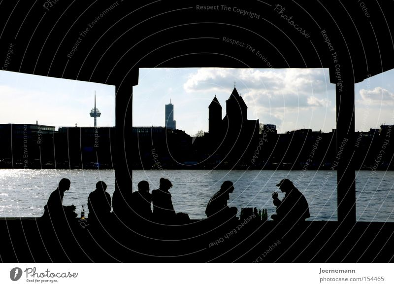 City Joy Group Cologne Picnic River bank Silhouette Row of seats Rhine