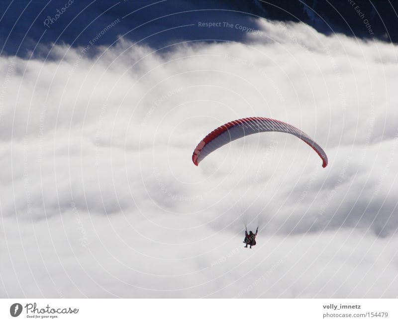 Sea of clouds Colour photo Subdued colour Exterior shot Day Deep depth of field Bird's-eye view Joy Life Leisure and hobbies Winter vacation Sports Aviation